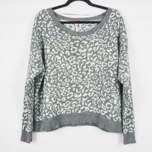 Free People Cool Cat Sweater Leopard Print Gray S